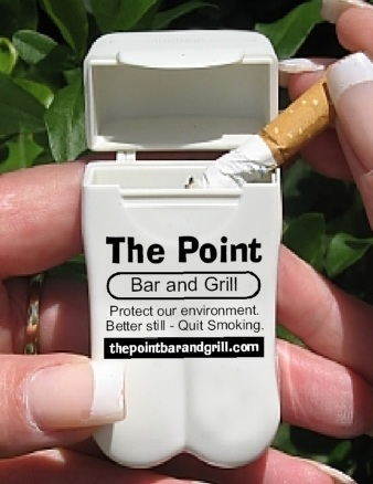 The Point's Pocket Ashtray from No BuTTs also encourages their customers to quit smoking.  Brilliant!