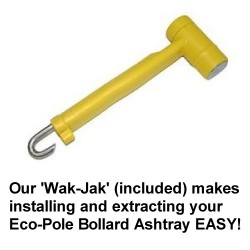 Wak-Jak Eco-Pole Bollard Ashtray peg hammer & extractor v2