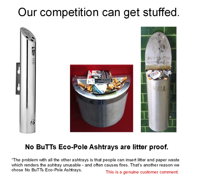 Eco-Pole Ashtrays have 'butts only' entry points that prevents litter insertion