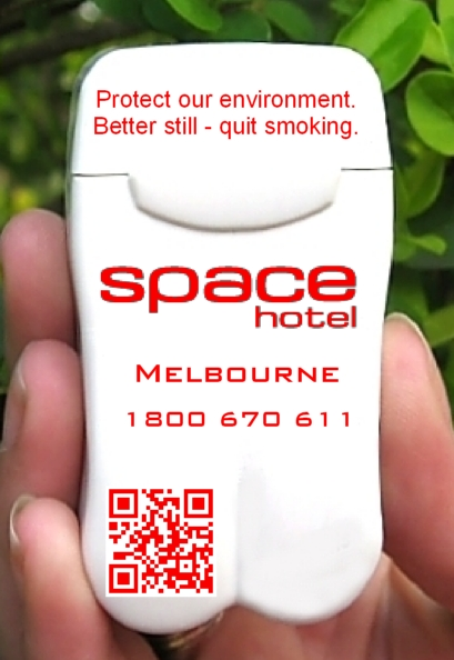 Space Hotel's Branded Personal Ashtray with QR Code.