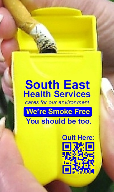 South East Health Services Personal Ashtray with Quit QR Code