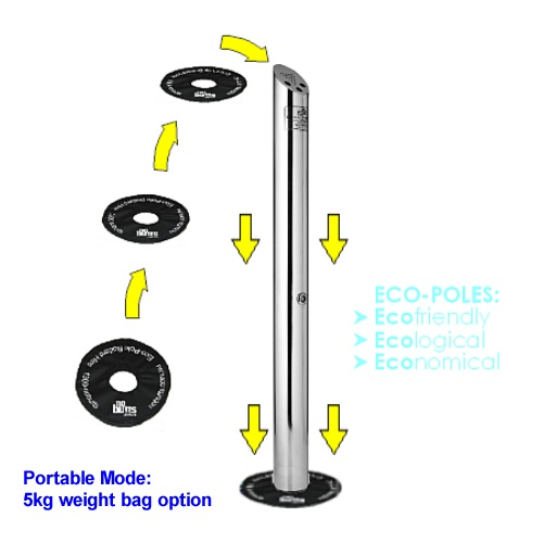 Eco-Pole Bollard Ashtray - Portable Weight bag option