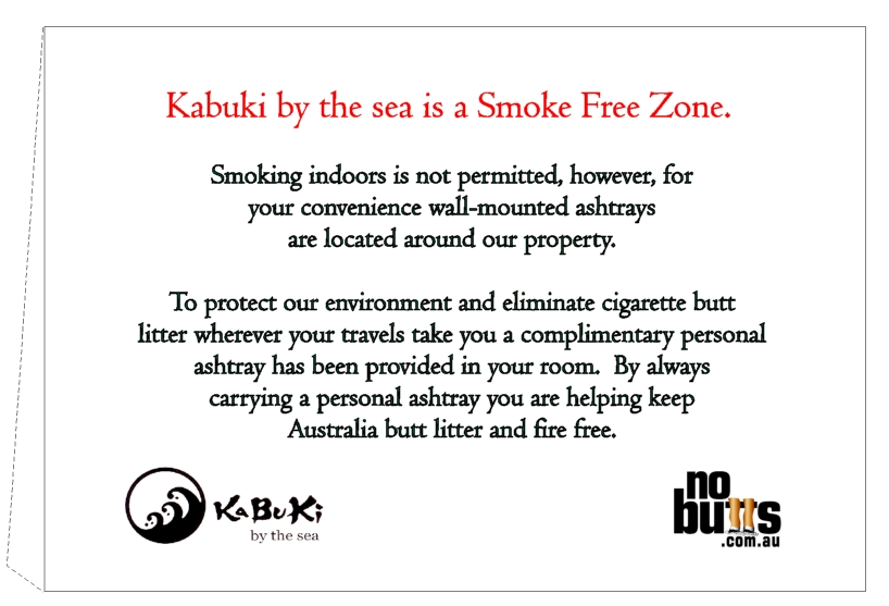 Kabuki by-the-sea's In-room Smoke Free Sign