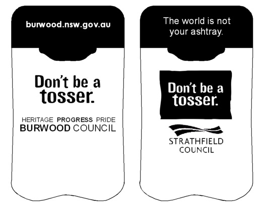 Burwood & Strathfield Councils latest Personal Ashtrays from No BuTTs