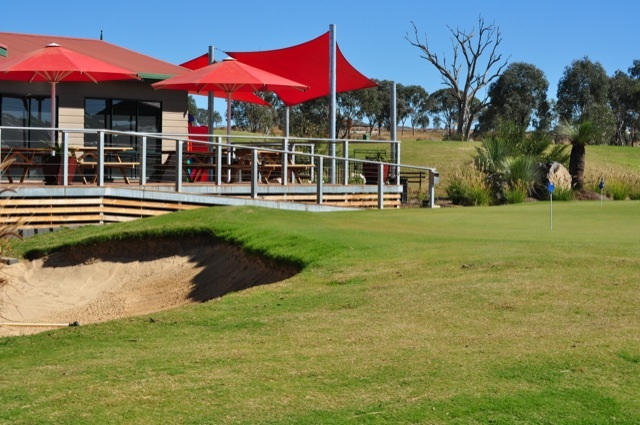 Longyard Golf Club's new Cafe 'The 9th Hole' - protected from butt litter with Eco-Pole Free Standing Ashtrays