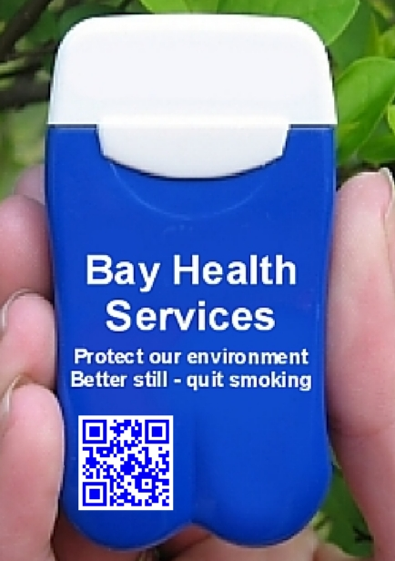 Bay Health Services' Personal Ashtrays also promote quitting smoking and have a QR Code link back to their website!